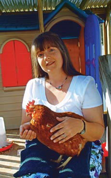The first hen the Taylors bought was Ruby, obtained from a flea market.