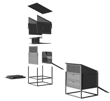 This flat-pack diagram shows individual parts as they arrive in the flat shipping package, with assembled unit at lower right.