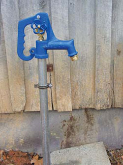 A frost-free hydrant is convenient for watering in winter. When the handle is in the off position, linkage through the supply pipe opens a bleed valve at its bottom, well below frost level. Water drains through the valve into the subsoil, leaving the pipe empty and in no danger of bursting in freezing temperatures.